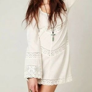 Free People On the V Crochet White Tunic XS